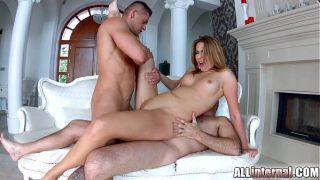 Cute blondie Ani gets double penetration creampie