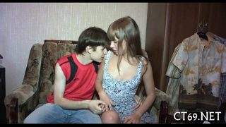 cute young couple plays sex game at home