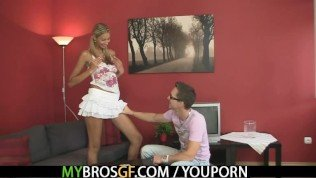 Euro blonde jumps at his cock as her BF gone