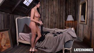 Latex Dominatrix Anissa Kate Slaps & Sucks Dick of Crossdressed Boyfriend